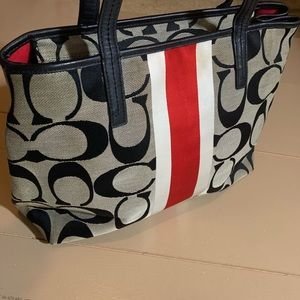 Coach black red/ white striped satchel 14 by 11